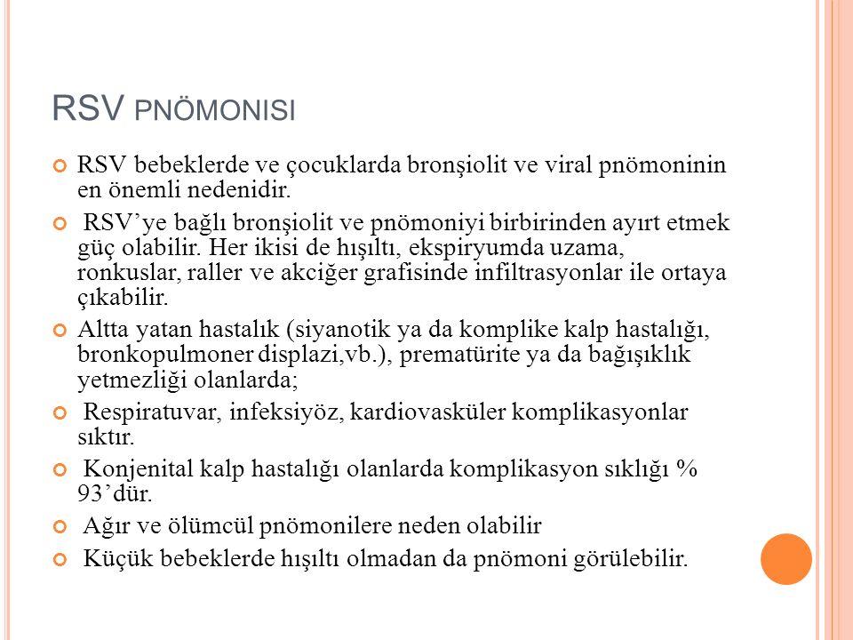 RSV PNÖMONISI RSV bebeklerde ve çocuklarda bronşiolit ve viral pnömoninin en önemli nedenidir. RSV'ye bağlı bronşiolit ve pnömoniyi birbirinden ayırt