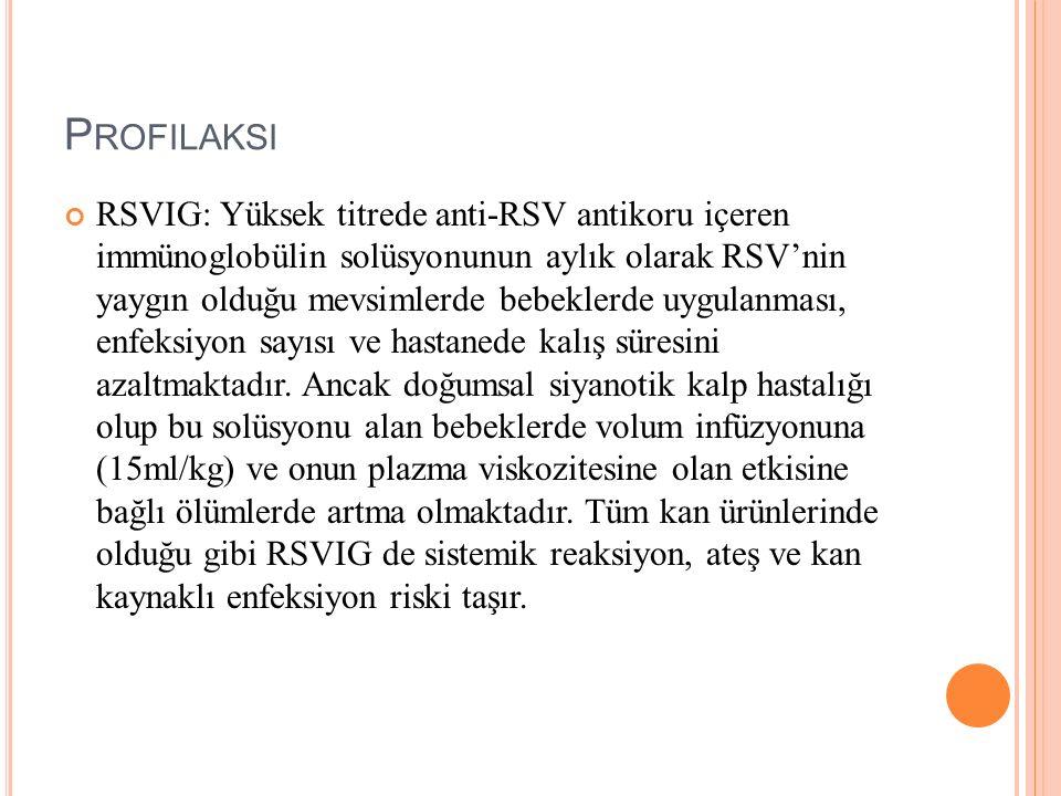 P ROFILAKSI RSVIG: Yüksek titrede anti-RSV antikoru içeren immünoglobülin solüsyonunun aylık olarak RSV'nin yaygın olduğu mevsimlerde bebeklerde uygul