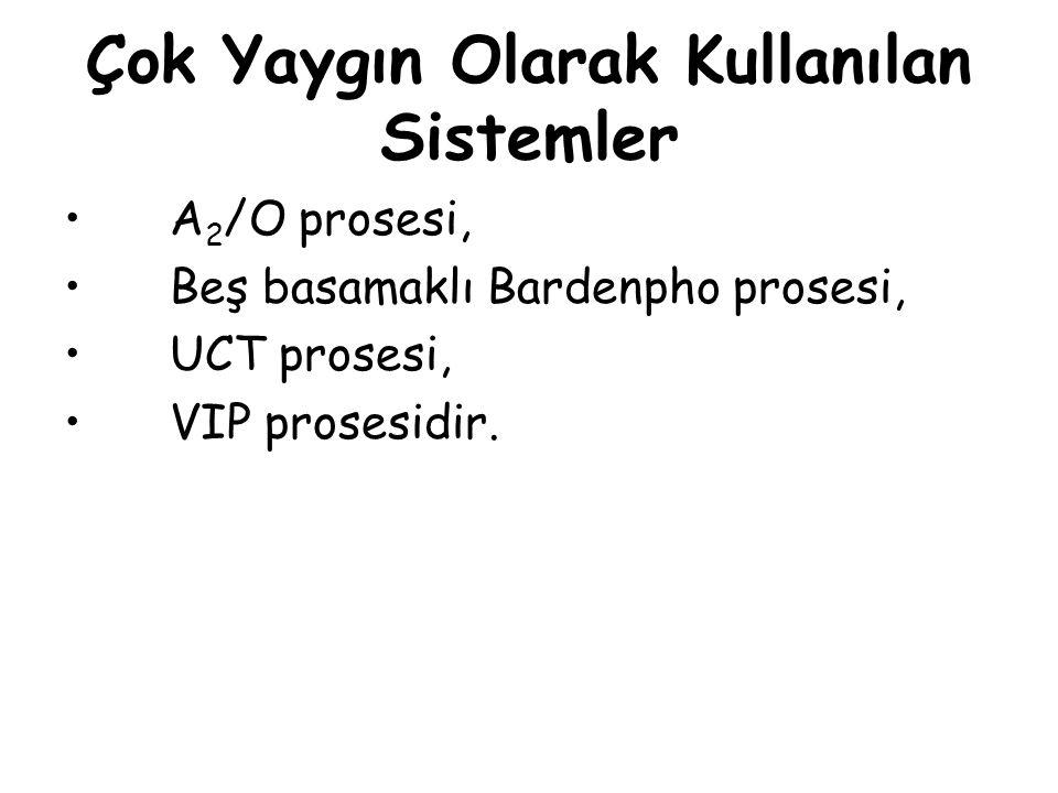 Çok Yaygın Olarak Kullanılan Sistemler A 2 /O prosesi, Beş basamaklı Bardenpho prosesi, UCT prosesi, VIP prosesidir.