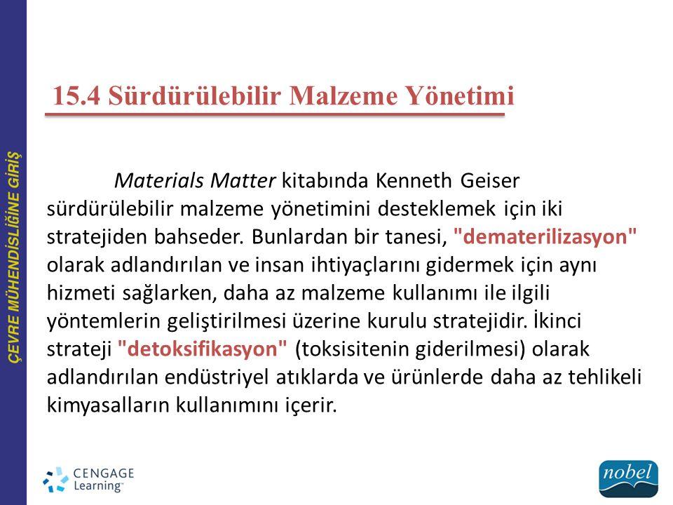 15.4 Sürdürülebilir Malzeme Yönetimi Materials Matter kitabında Kenneth Geiser sürdürülebilir malzeme yönetimini desteklemek için iki stratejiden bahs