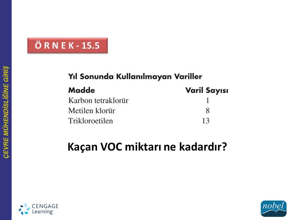 Kaçan VOC miktarı ne kadardır? Ö R N E K - 15.5