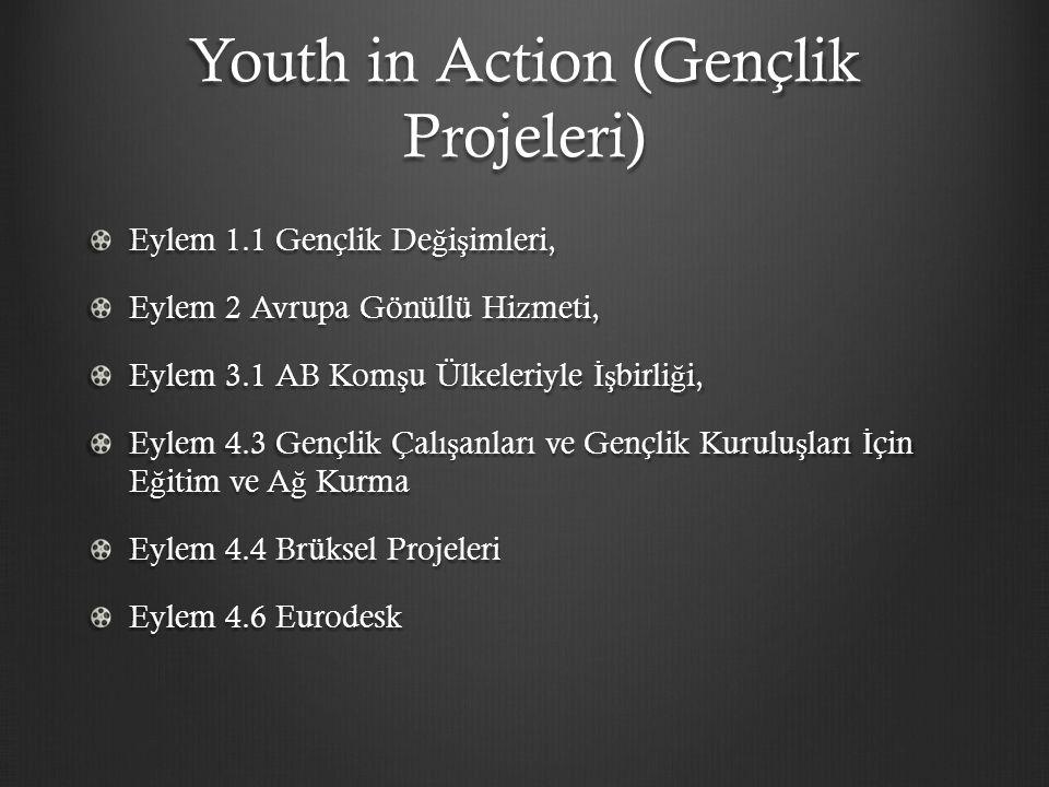 Youth in Action (Gençlik Projeleri) Eylem 1.1 Gençlik De ğ i ş imleri, Eylem 2 Avrupa Gönüllü Hizmeti, Eylem 3.1 AB Kom ş u Ülkeleriyle İş birli ğ i, Eylem 4.3 Gençlik Çalı ş anları ve Gençlik Kurulu ş ları İ çin E ğ itim ve A ğ Kurma Eylem 4.4 Brüksel Projeleri Eylem 4.6 Eurodesk
