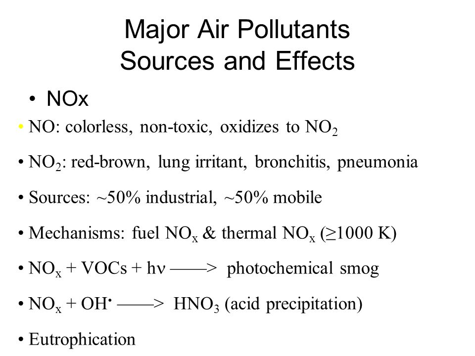 Major Air Pollutants Sources and Effects NOx NO: colorless, non-toxic, oxidizes to NO 2 NO 2 : red-brown, lung irritant, bronchitis, pneumonia Sources