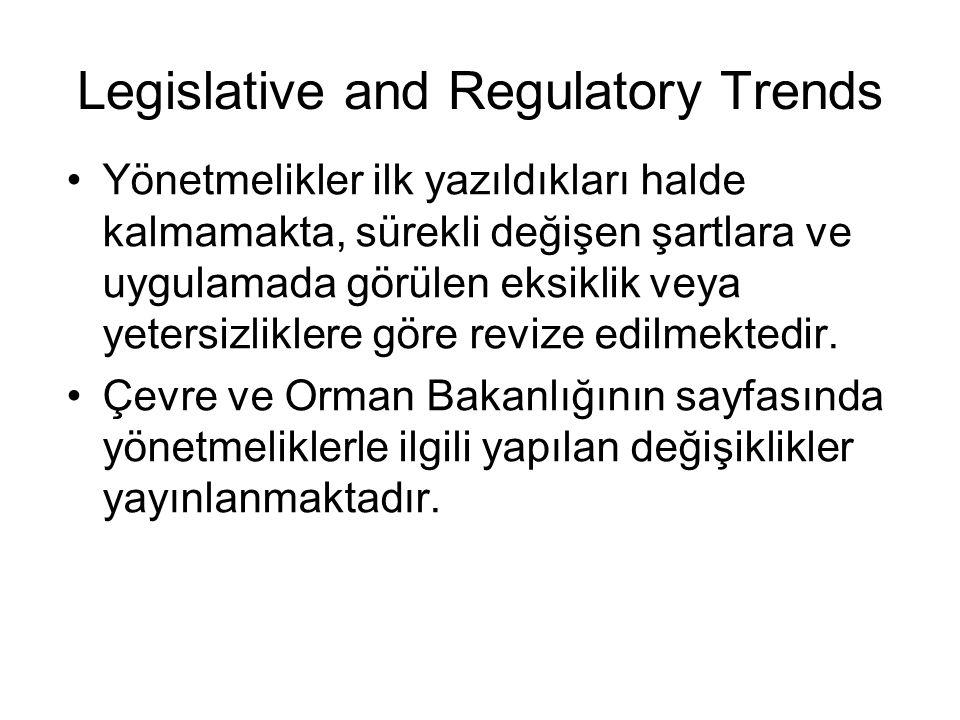 Legislative and Regulatory Trends Yönetmelikler ilk yazıldıkları halde kalmamakta, sürekli değişen şartlara ve uygulamada görülen eksiklik veya yetersizliklere göre revize edilmektedir.