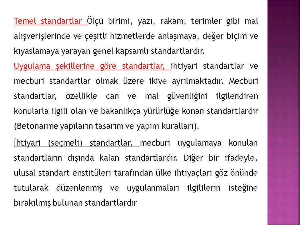 Uygulama alanlarına göre standartlar,  İşletme standartları, işyerlerinin belirli ihtiyaçlarını karşılamak için düzenledikleri özel standartlardır.