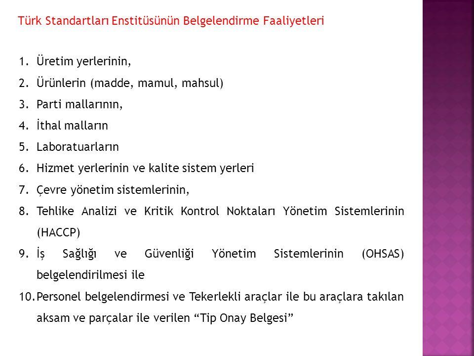 Türk Standartları Enstitüsünün Belgelendirme Faaliyetleri 1.Üretim yerlerinin, 2.Ürünlerin (madde, mamul, mahsul) 3.Parti mallarının, 4.İthal malların
