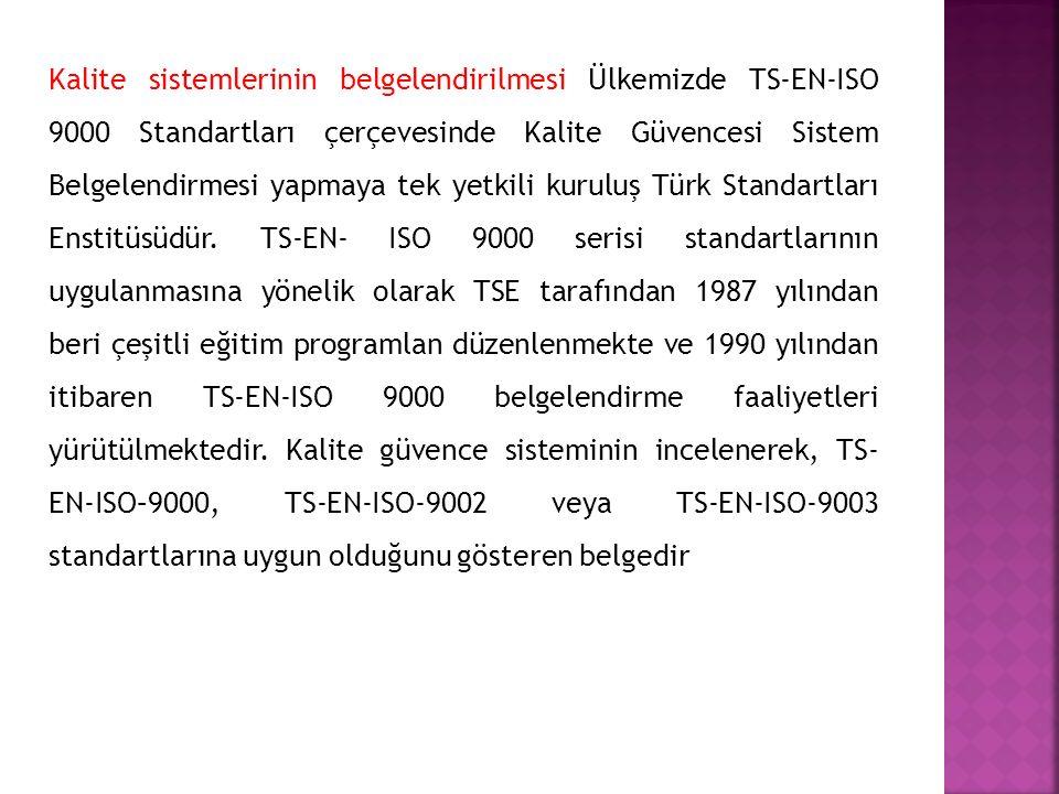 Kalite sistemlerinin belgelendirilmesi Ülkemizde TS-EN-ISO 9000 Standartları çerçevesinde Kalite Güvencesi Sistem Belgelendirmesi yapmaya tek yetkili