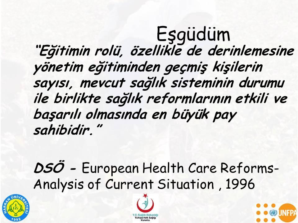 Eşgüdüm Eğitimin rolü, özellikle de derinlemesine yönetim eğitiminden geçmiş kişilerin sayısı, mevcut sağlık sisteminin durumu ile birlikte sağlık reformlarının etkili ve başarılı olmasında en büyük pay sahibidir. DSÖ - European Health Care Reforms- Analysis of Current Situation, 1996