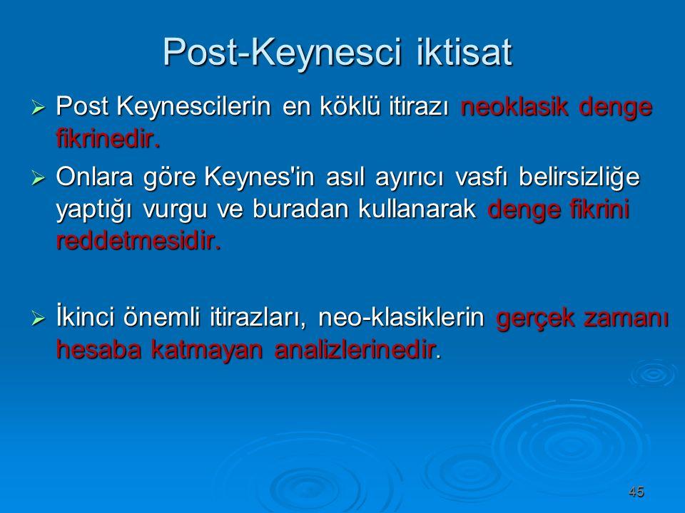 Post-Keynesci iktisat Post-Keynesci iktisat  Post Keynescilerin en köklü itirazı neoklasik denge fikrinedir.