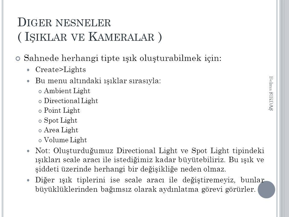 D IGER NESNELER ( I ŞIKLAR VE K AMERALAR ) Sahnede herhangi tipte ışık oluşturabilmek için: Create>Lights Bu menu altındaki ışıklar sırasıyla: Ambient Light Directional Light Point Light Spot Light Area Light Volume Light Not: Oluşturduğumuz Directional Light ve Spot Light tipindeki ışıkları scale aracı ile istediğimiz kadar büyütebiliriz.