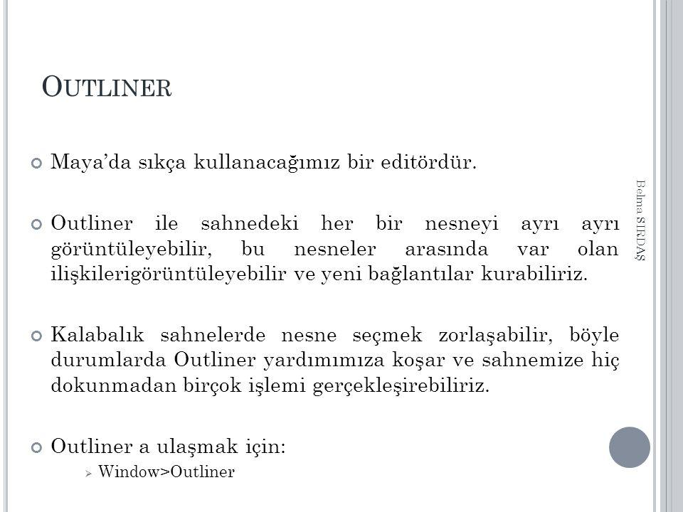 O UTLINER Maya'da sıkça kullanacağımız bir editördür.