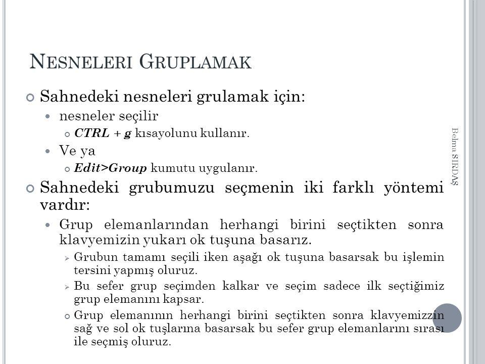 N ESNELERI G RUPLAMAK Sahnedeki nesneleri grulamak için: nesneler seçilir CTRL + g kısayolunu kullanır. Ve ya Edit>Group kumutu uygulanır. Sahnedeki g