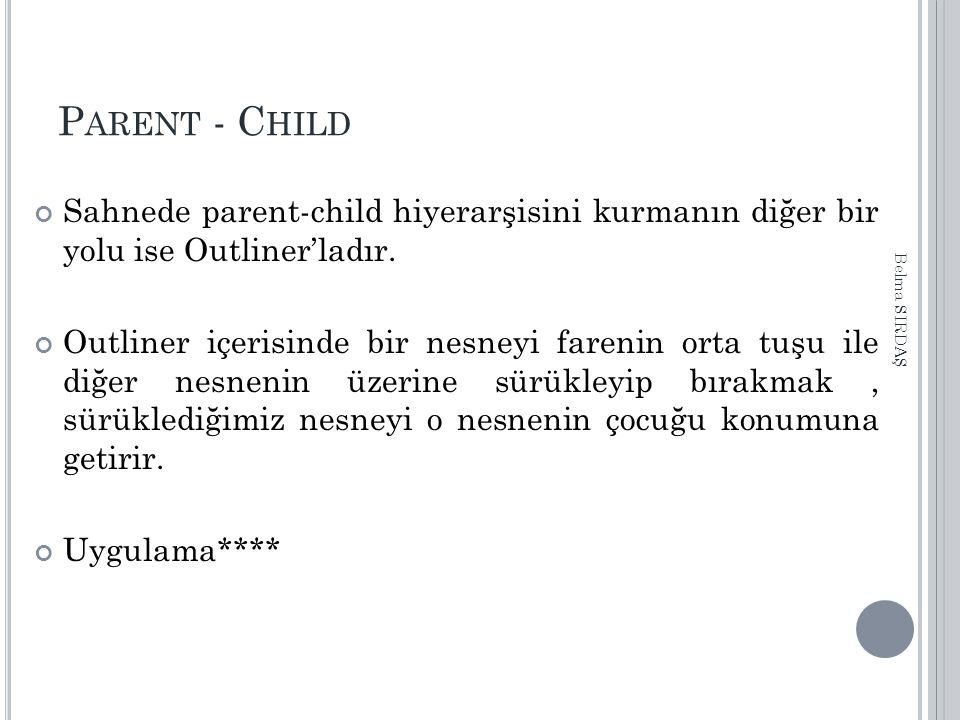 P ARENT - C HILD Sahnede parent-child hiyerarşisini kurmanın diğer bir yolu ise Outliner'ladır. Outliner içerisinde bir nesneyi farenin orta tuşu ile