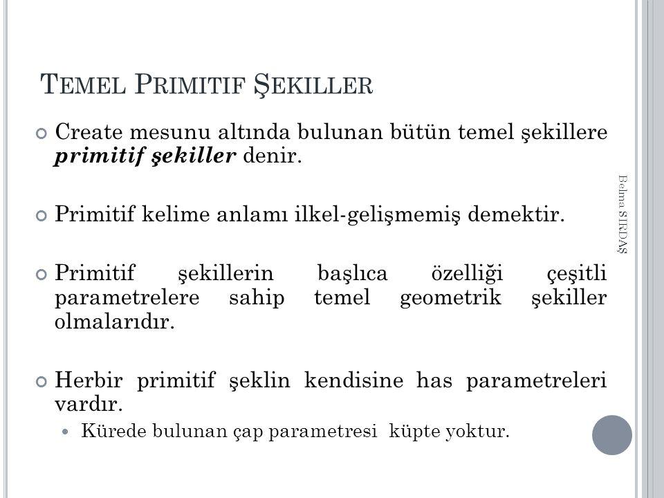 T EMEL P RIMITIF Ş EKILLER Create mesunu altında bulunan bütün temel şekillere primitif şekiller denir.