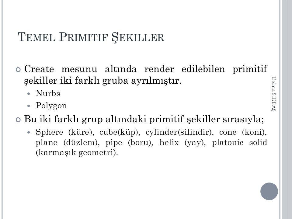 T EMEL P RIMITIF Ş EKILLER Create mesunu altında render edilebilen primitif şekiller iki farklı gruba ayrılmıştır. Nurbs Polygon Bu iki farklı grup al