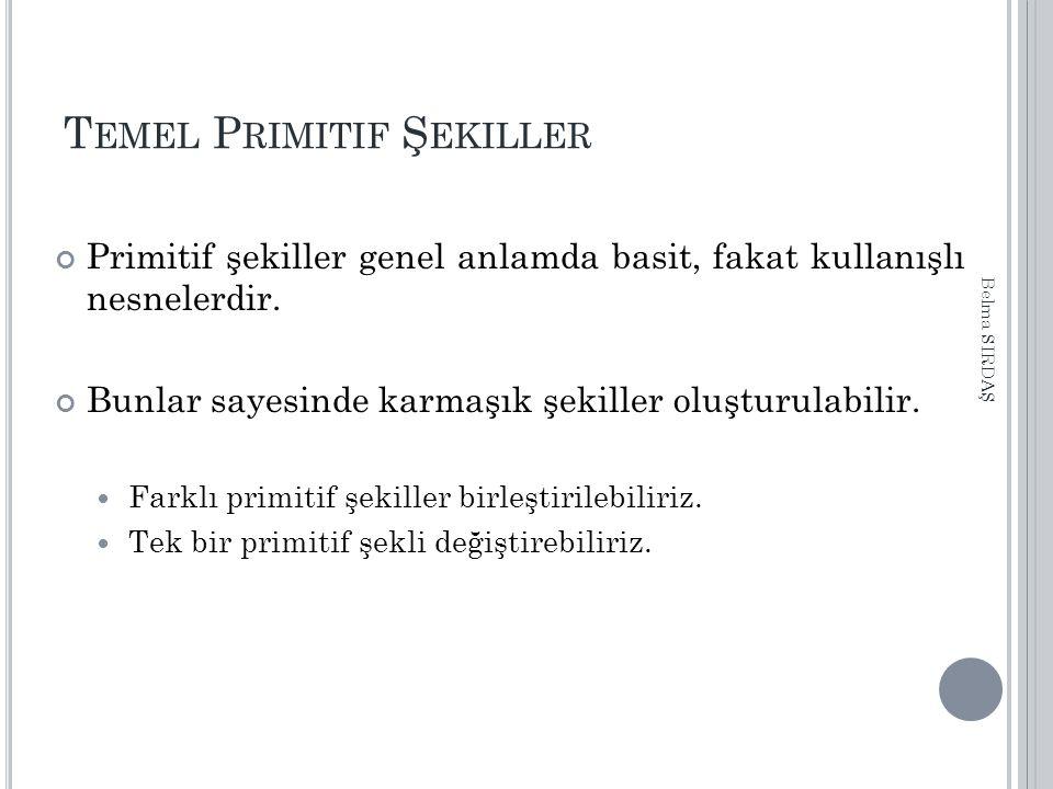 T EMEL P RIMITIF Ş EKILLER Primitif şekiller genel anlamda basit, fakat kullanışlı nesnelerdir.