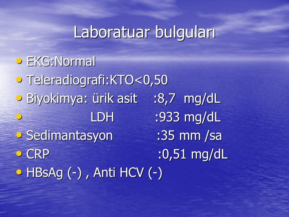 Laboratuar bulguları EKG:Normal EKG:Normal Teleradiografi:KTO<0,50 Teleradiografi:KTO<0,50 Biyokimya: ürik asit :8,7 mg/dL Biyokimya: ürik asit :8,7 m