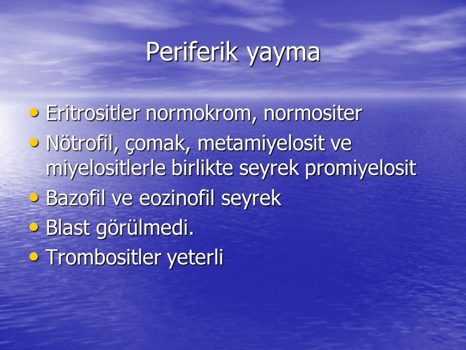 Periferik yayma Eritrositler normokrom, normositer Eritrositler normokrom, normositer Nötrofil, çomak, metamiyelosit ve miyelositlerle birlikte seyrek