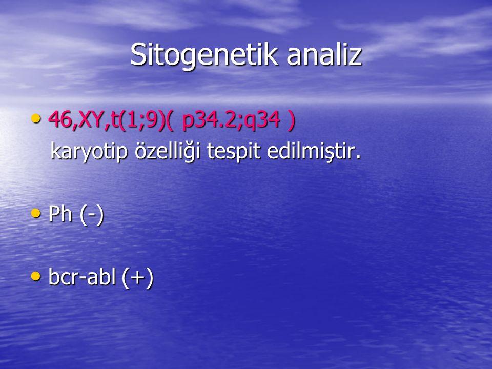 Sitogenetik analiz 46,XY,t(1;9)( p34.2;q34 ) 46,XY,t(1;9)( p34.2;q34 ) karyotip özelliği tespit edilmiştir. karyotip özelliği tespit edilmiştir. Ph (-