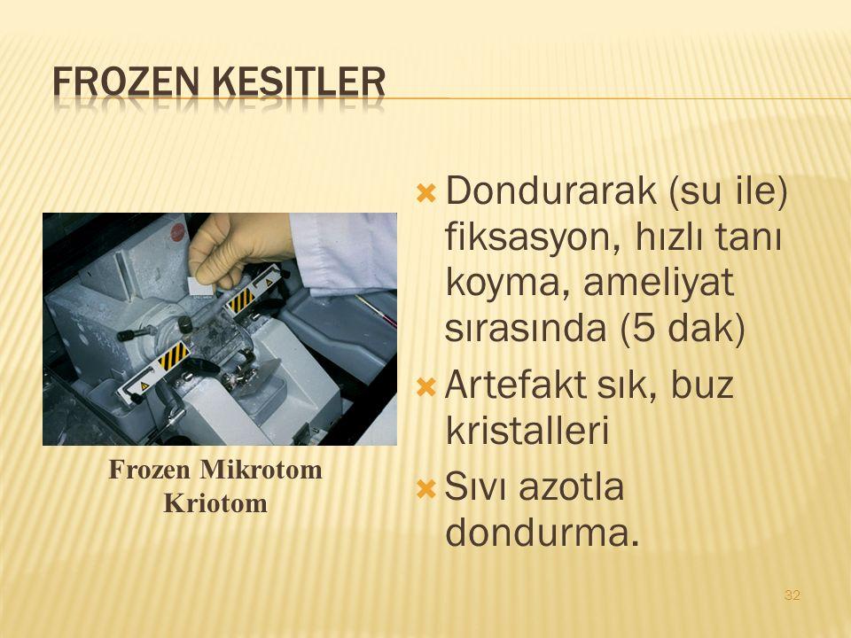  Dondurarak (su ile) fiksasyon, hızlı tanı koyma, ameliyat sırasında (5 dak)  Artefakt sık, buz kristalleri  Sıvı azotla dondurma.