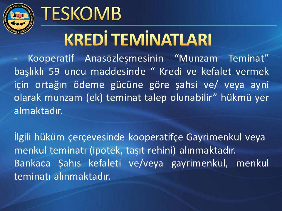 - Kooperatif Anasözleşmesinin Munzam Teminat başlıklı 59 uncu maddesinde Kredi ve kefalet vermek için ortağın ödeme gücüne göre şahsi ve/ veya ayni olarak munzam (ek) teminat talep olunabilir hükmü yer almaktadır.