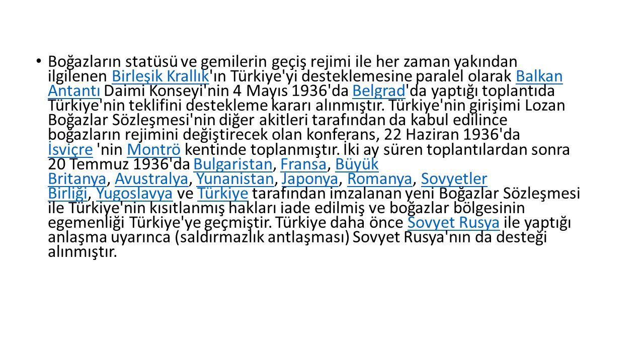 Boğazların statüsü ve gemilerin geçiş rejimi ile her zaman yakından ilgilenen Birleşik Krallık ın Türkiye yi desteklemesine paralel olarak Balkan Antantı Daimi Konseyi nin 4 Mayıs 1936 da Belgrad da yaptığı toplantıda Türkiye nin teklifini destekleme kararı alınmıştır.