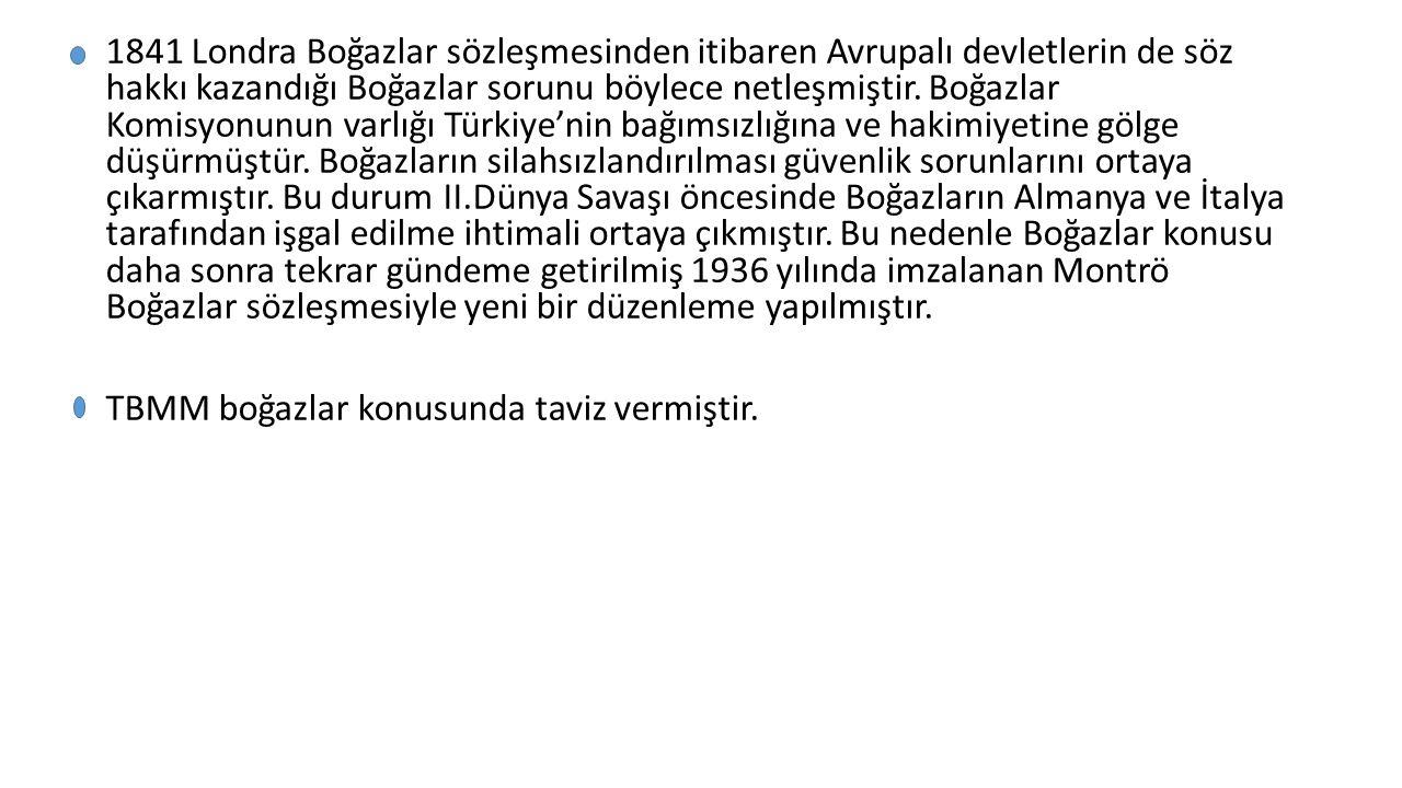 MONTRÖ BOĞAZLAR ANTLAŞMASININ SONUÇLARI VE ÖNEMİ Türkiye'nin Boğazlar üzerindeki egemenlik hakkını sınırlayıcı hükümler kaldırılmış ve tam egemenlik sağlanmıştır.