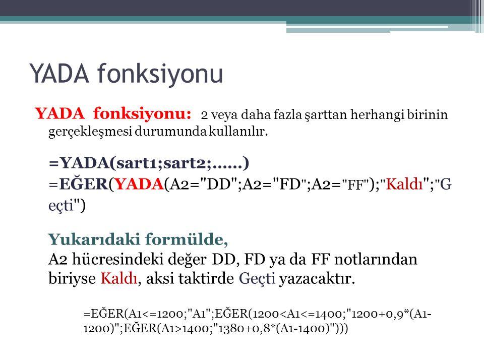 YADA fonksiyonu YADA fonksiyonu: 2 veya daha fazla şarttan herhangi birinin gerçekleşmesi durumunda kullanılır.