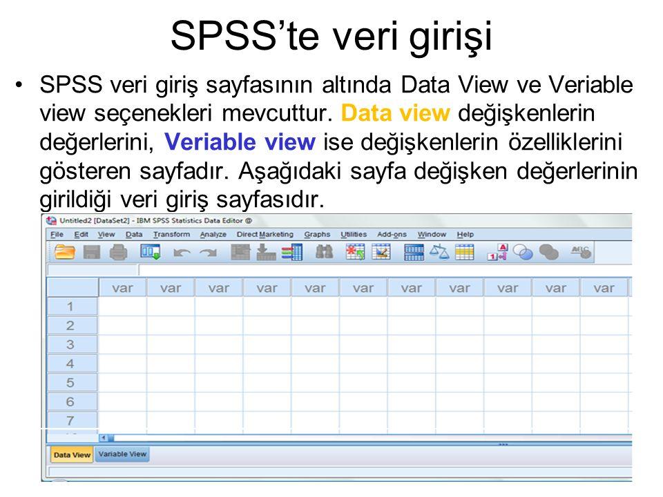 SPSS'te veri girişi SPSS veri giriş sayfasının altında Data View ve Veriable view seçenekleri mevcuttur. Data view değişkenlerin değerlerini, Veriable
