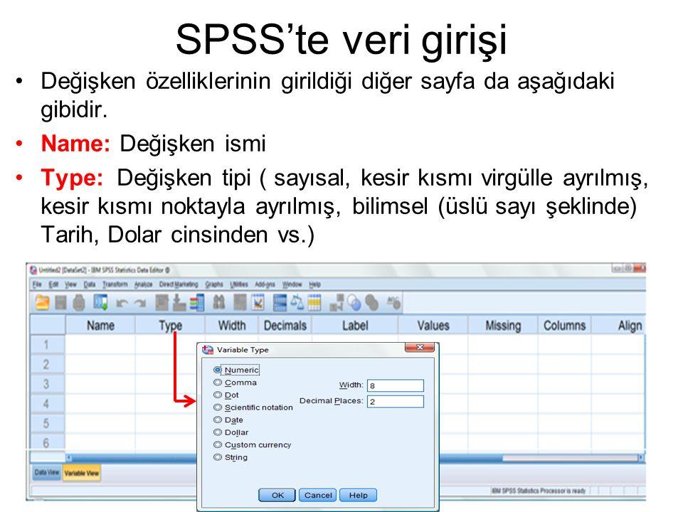 SPSS'te veri girişi Değişken özelliklerinin girildiği diğer sayfa da aşağıdaki gibidir. Name: Değişken ismi Type: Değişken tipi ( sayısal, kesir kısmı