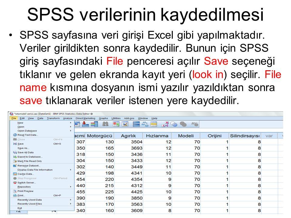 SPSS verilerinin kaydedilmesi SPSS sayfasına veri girişi Excel gibi yapılmaktadır. Veriler girildikten sonra kaydedilir. Bunun için SPSS giriş sayfası