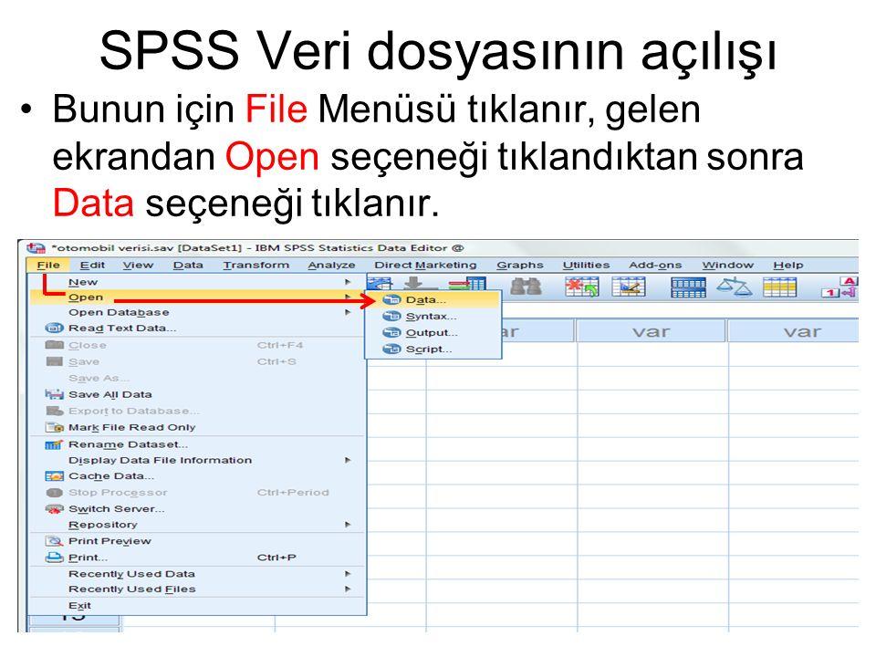 SPSS Veri dosyasının açılışı Bunun için File Menüsü tıklanır, gelen ekrandan Open seçeneği tıklandıktan sonra Data seçeneği tıklanır.