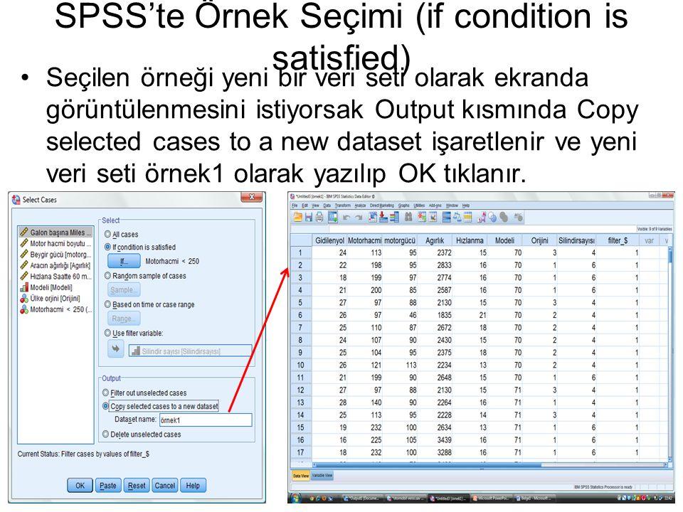 Seçilen örneği yeni bir veri seti olarak ekranda görüntülenmesini istiyorsak Output kısmında Copy selected cases to a new dataset işaretlenir ve yeni