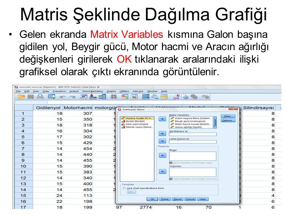 Gelen ekranda Matrix Variables kısmına Galon başına gidilen yol, Beygir gücü, Motor hacmi ve Aracın ağırlığı değişkenleri girilerek OK tıklanarak aral