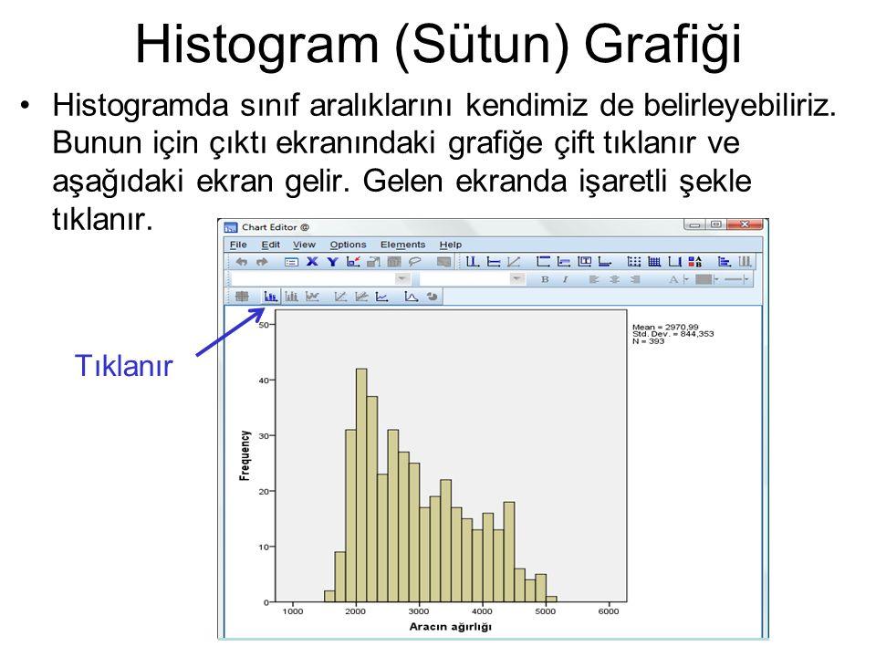 Histogramda sınıf aralıklarını kendimiz de belirleyebiliriz. Bunun için çıktı ekranındaki grafiğe çift tıklanır ve aşağıdaki ekran gelir. Gelen ekrand