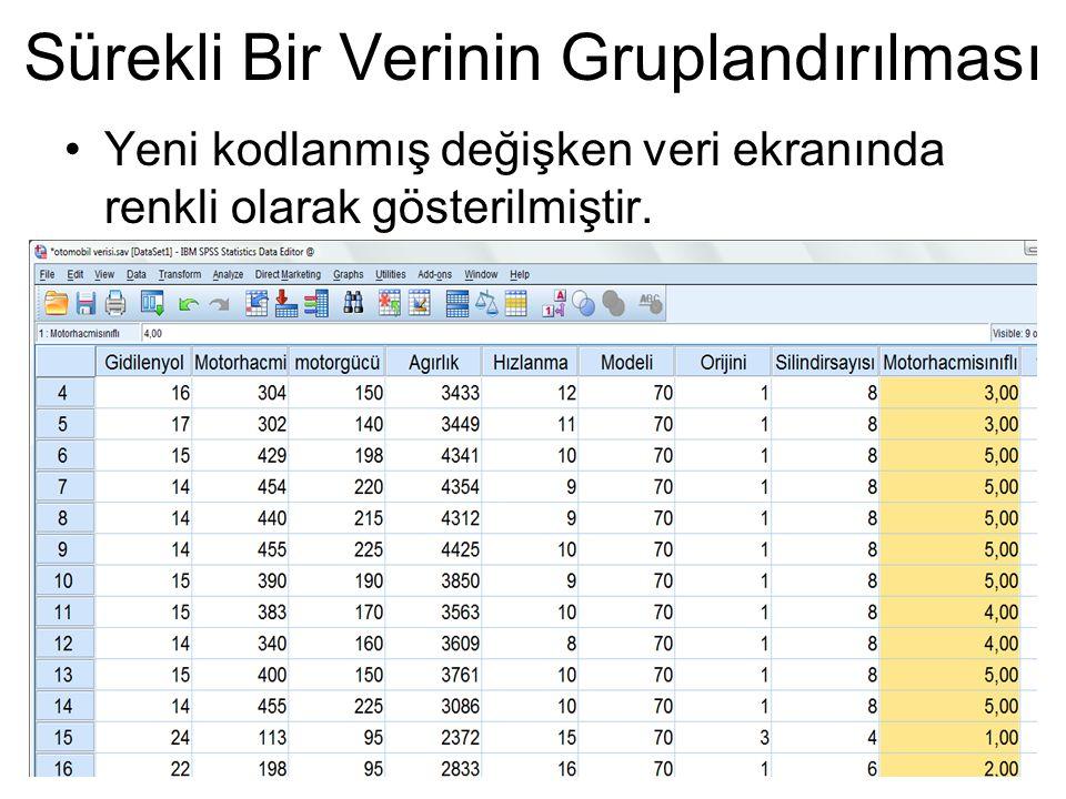 Yeni kodlanmış değişken veri ekranında renkli olarak gösterilmiştir. Sürekli Bir Verinin Gruplandırılması
