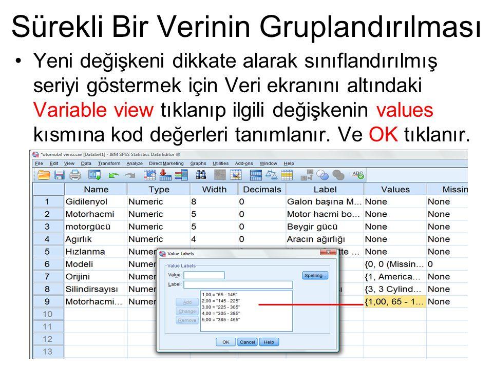 Yeni değişkeni dikkate alarak sınıflandırılmış seriyi göstermek için Veri ekranını altındaki Variable view tıklanıp ilgili değişkenin values kısmına k