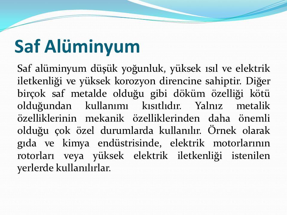 Saf Alüminyum Saf alüminyum düşük yoğunluk, yüksek ısıl ve elektrik iletkenliği ve yüksek korozyon direncine sahiptir. Diğer birçok saf metalde olduğu