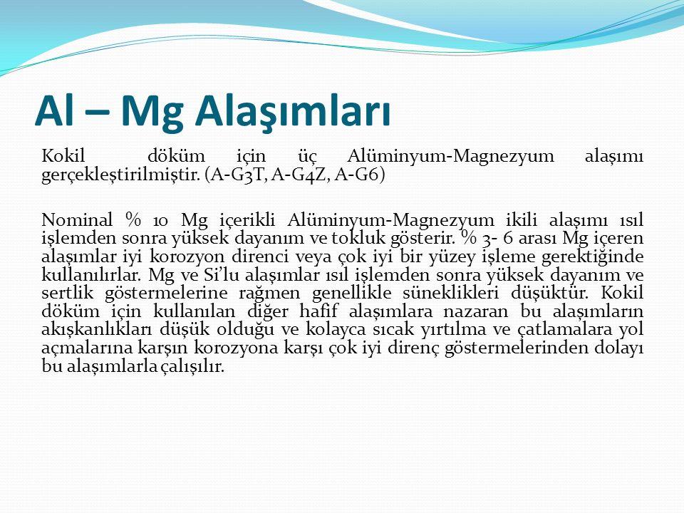 Al – Mg Alaşımları Kokil döküm için üç Alüminyum-Magnezyum alaşımı gerçekleştirilmiştir. (A-G3T, A-G4Z, A-G6) Nominal % 10 Mg içerikli Alüminyum-Magne