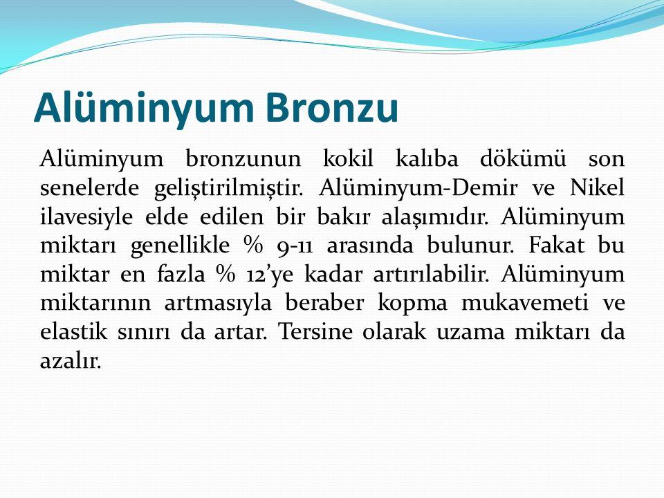 Alüminyum Bronzu Alüminyum bronzunun kokil kalıba dökümü son senelerde geliştirilmiştir. Alüminyum-Demir ve Nikel ilavesiyle elde edilen bir bakır ala