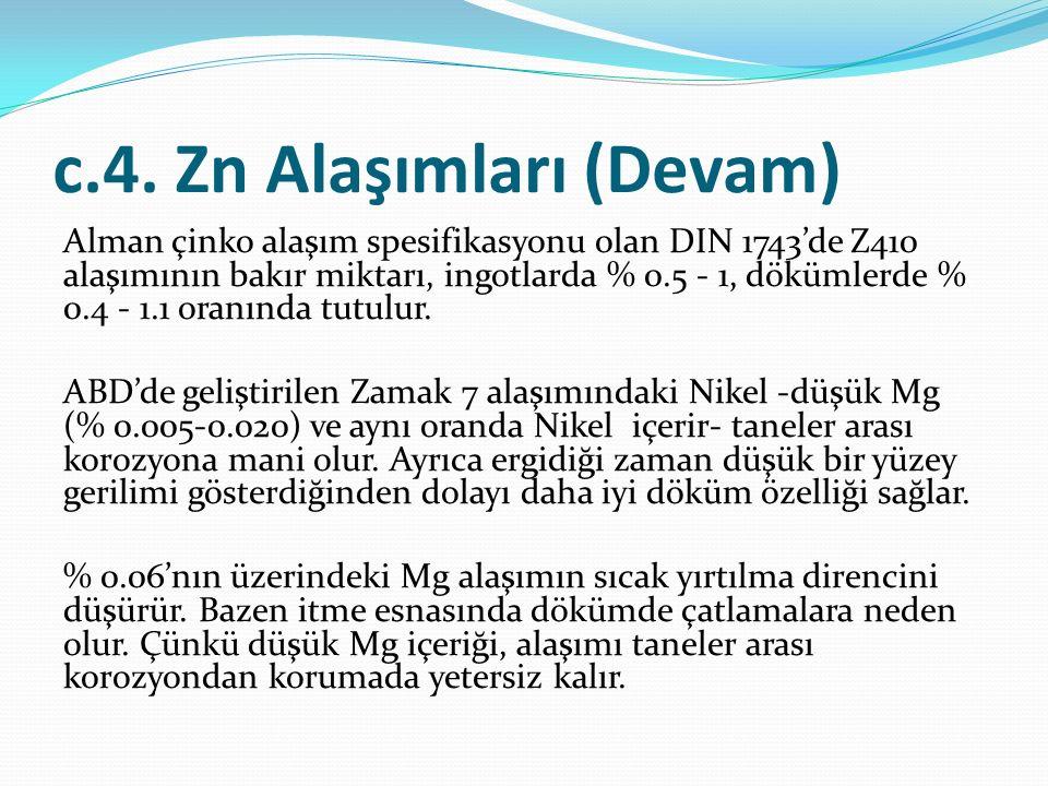 c.4. Zn Alaşımları (Devam) Alman çinko alaşım spesifikasyonu olan DIN 1743'de Z410 alaşımının bakır miktarı, ingotlarda % 0.5 - 1, dökümlerde % 0.4 -