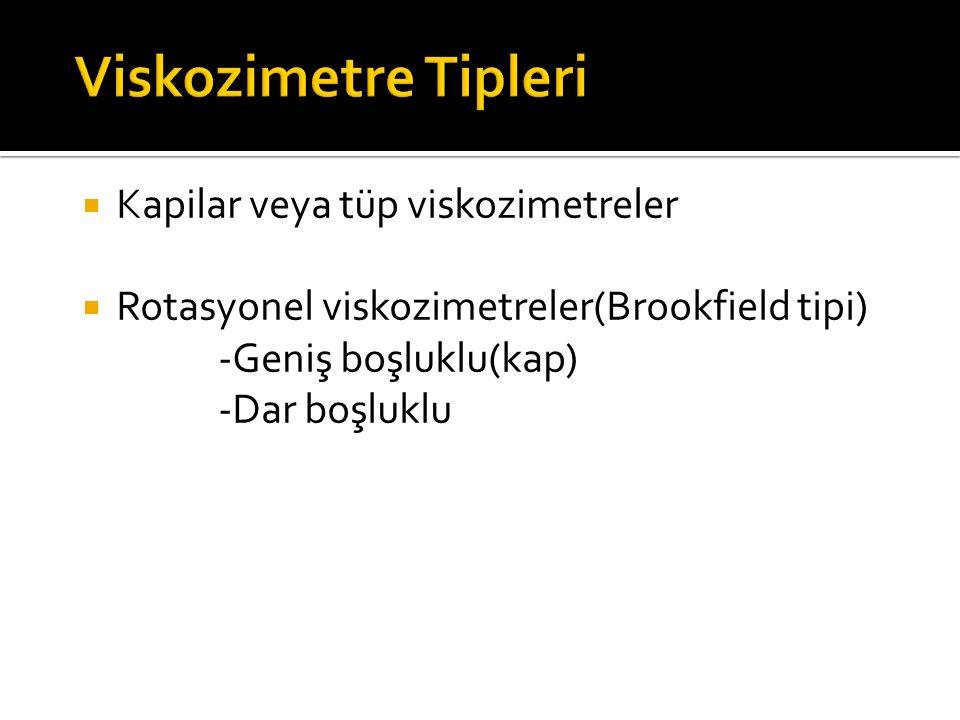  Kapilar veya tüp viskozimetreler  Rotasyonel viskozimetreler(Brookfield tipi) -Geniş boşluklu(kap) -Dar boşluklu