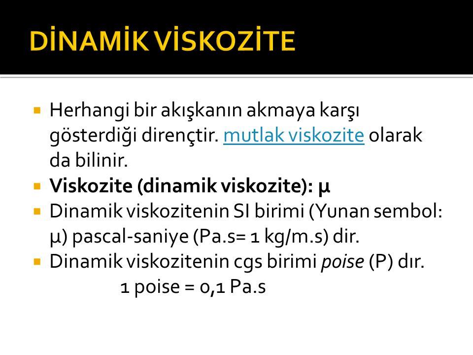 HHerhangi bir akışkanın akmaya karşı gösterdiği dirençtir. mutlak viskozite olarak da bilinir. VViskozite (dinamik viskozite): μ DDinamik viskoz
