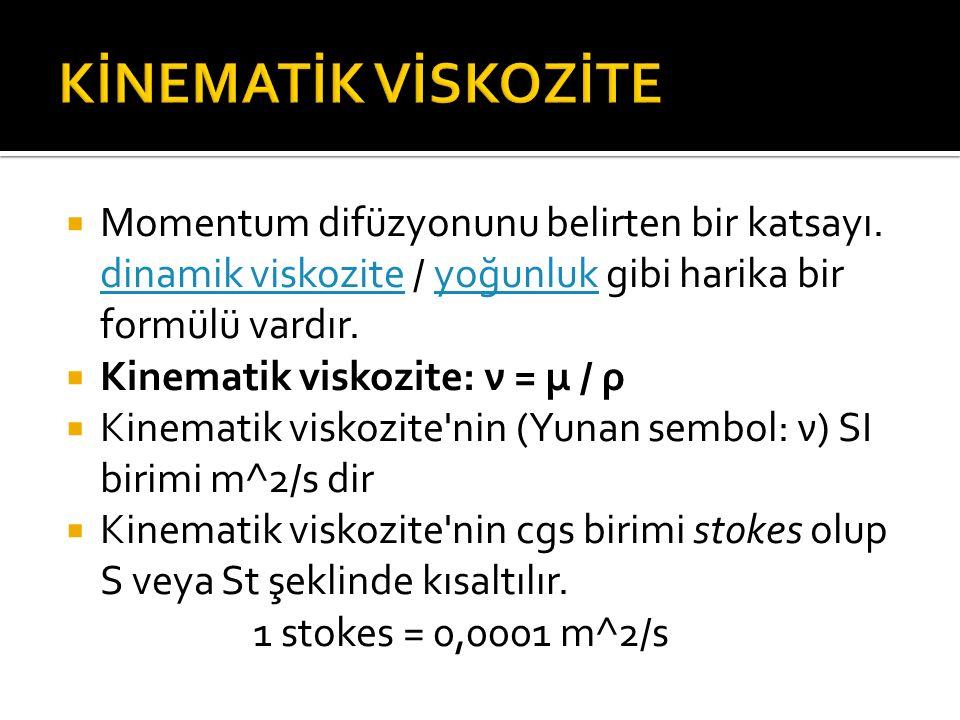  Momentum difüzyonunu belirten bir katsayı. dinamik viskozite / yoğunluk gibi harika bir formülü vardır. dinamik viskoziteyoğunluk  Kinematik viskoz