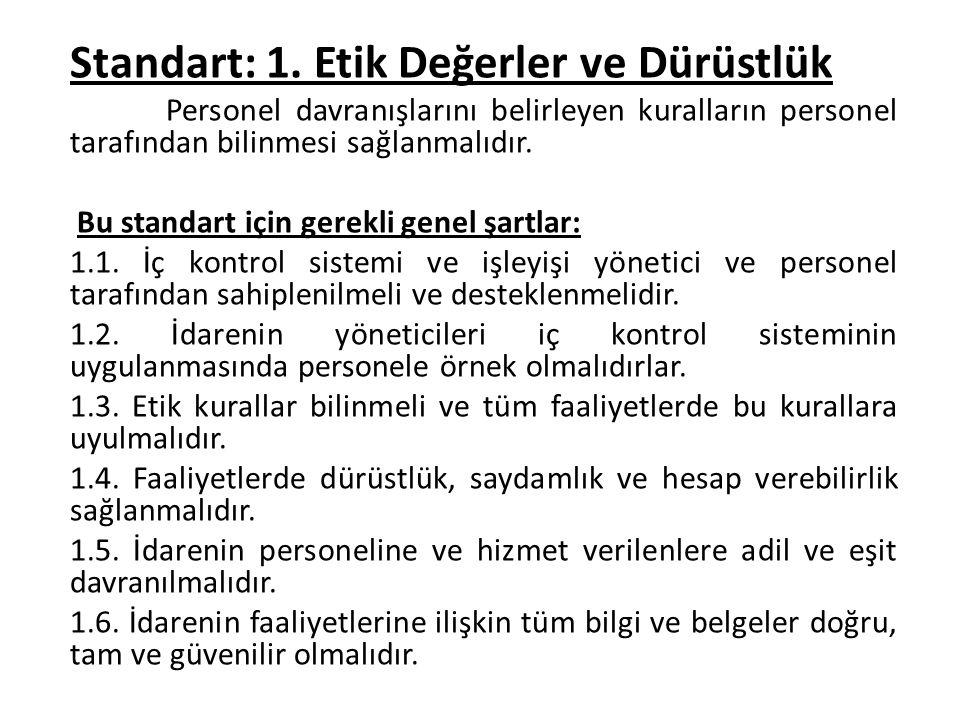 Standart: 1. Etik Değerler ve Dürüstlük Personel davranışlarını belirleyen kuralların personel tarafından bilinmesi sağlanmalıdır. Bu standart için ge
