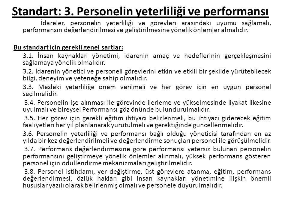 Standart: 3. Personelin yeterliliği ve performansı İdareler, personelin yeterliliği ve görevleri arasındaki uyumu sağlamalı, performansın değerlendiri