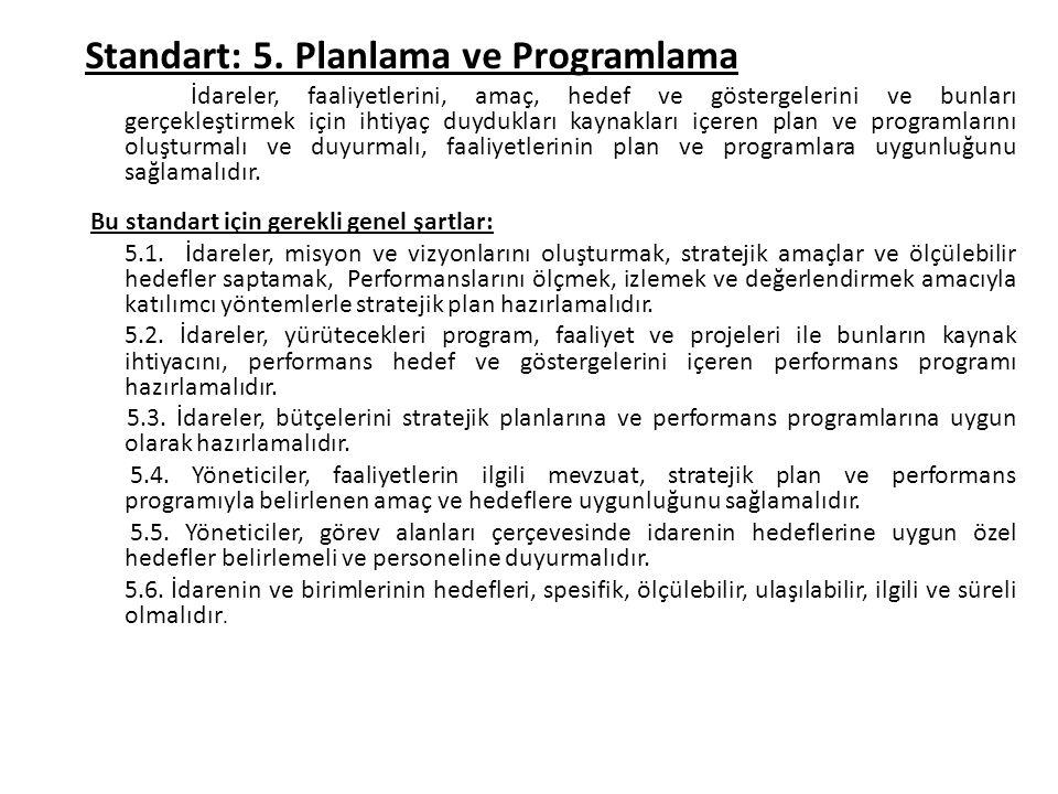 Standart: 5. Planlama ve Programlama İdareler, faaliyetlerini, amaç, hedef ve göstergelerini ve bunları gerçekleştirmek için ihtiyaç duydukları kaynak