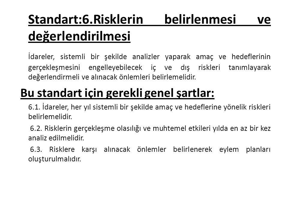 Standart:6.Risklerin belirlenmesi ve değerlendirilmesi İdareler, sistemli bir şekilde analizler yaparak amaç ve hedeflerinin gerçekleşmesini engelleye