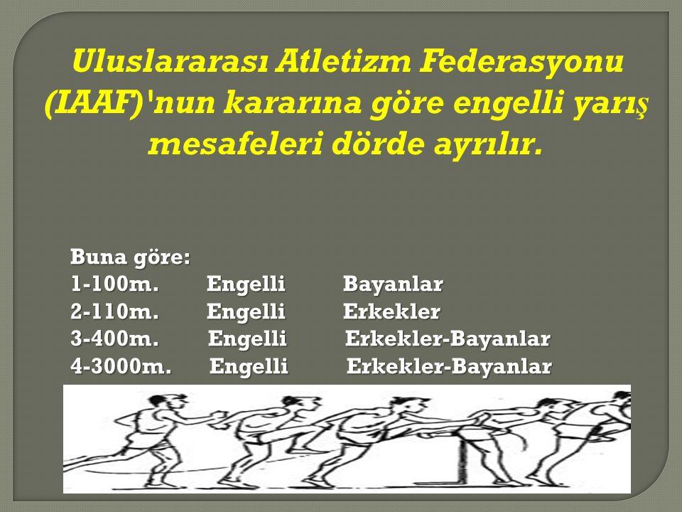 Uluslararası Atletizm Federasyonu (IAAF)'nun kararına göre engelli yarış mesafeleri dörde ayrılır. Buna göre: 1-100m.EngelliBayanlar 2-110m.EngelliErk