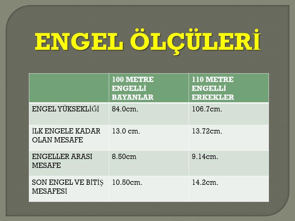 ENGEL ÖLÇÜLER İ 100 METRE ENGELL İ BAYANLAR 110 METRE ENGELL İ ERKEKLER ENGEL YÜKSEKL İĞİ 84.0cm.106.7cm. İ LK ENGELE KADAR OLAN MESAFE 13.0 cm.13.72c